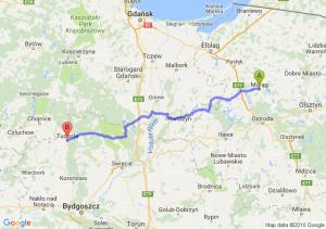 Morąg (warmińsko-mazurskie) - Tuchola (kujawsko-pomorskie)
