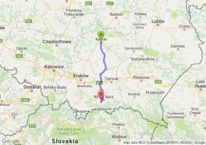 Kielce (świętokrzyskie) - Stary Sącz (małopolskie)