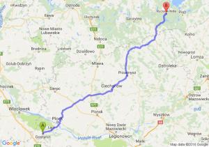 Gostynin (mazowieckie) - Ruciane-Nida (warmińsko-mazurskie)