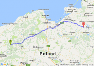 Kalisz Pomorski (zachodniopomorskie) - Kętrzyn (warmińsko-mazurskie)