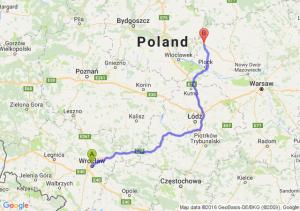 Wrocław (dolnośląskie) - Sierpc (mazowieckie)