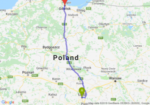 Trasa Łódź - Gdańsk