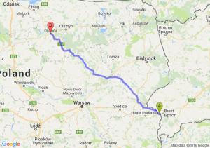 Terespol (lubelskie) - Ostróda (warmińsko-mazurskie)