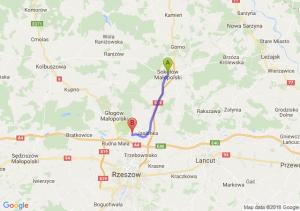Trasa Sokołów Małopolski - Nowa Wieś (koło Jasionki)