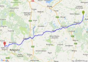 Jeziorany (warmińsko-mazurskie) - Mrocza (kujawsko-pomorskie)