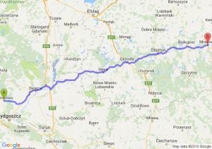 Koronowo (kujawsko-pomorskie) - Mrągowo (warmińsko-mazurskie)