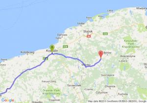 Lubin (dolnośląskie) - Koszalin (zachodniopomorskie) - Tuchomie (pomorskie)