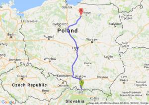 Nowy Targ (małopolskie) - Ostróda (warmińsko-mazurskie)
