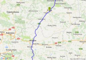 Warszawa (mazowieckie) - Kielce (świętokrzyskie) - Szaflary (małopolskie)