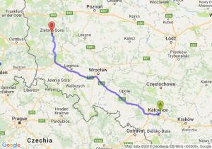 Trasa Sosnowiec - Zielona Góra