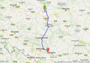 Kutno (łódzkie) - Krzeszowice (małopolskie)