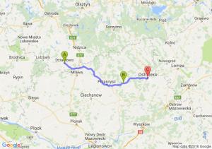 Działdowo (warmińsko-mazurskie) - Krasnosielc (mazowieckie) - Ostrołęka (mazowieckie)