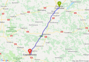 Trasa Piotrków Trybunalski - Częstochowa