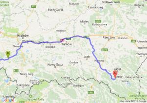 Czechowice-dziedzice (śląskie) - Sucha Beskidzka (małopolskie) - Wysoczany (podkarpackie)