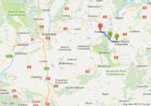 Marzecice  - Wawrowice (warmińsko-mazurskie) - Biskupiec (koło Nowego Miasta Lubawskiego) (warmińsko-mazurskie)
