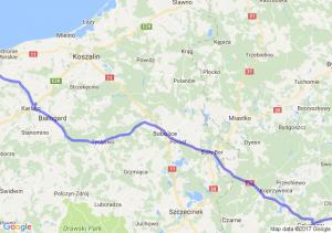 Kołobrzeg (zachodniopomorskie) - Bąkowo (koło Warlubia) (kujawsko-pomorskie)