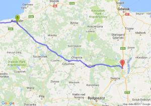 Kołobrzeg (zachodniopomorskie) - Koszalin (zachodniopomorskie) - Bąkowo (koło Warlubia) (kujawsko-pomorskie)
