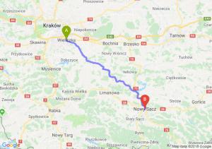 Trasa Wieliczka - Nowy Sącz