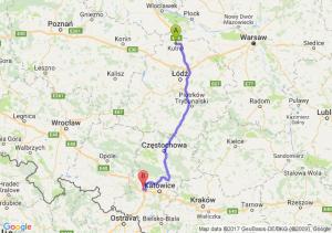 Kutno (łódzkie) - Gliwice (śląskie)