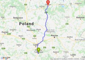 Trasa Piotrków Trybunalski - Olsztyn