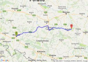 Wrocław (dolnośląskie) - Pionki (mazowieckie)