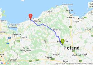 Trasa Brzoza (koło Bydgoszczy) - Kołobrzeg