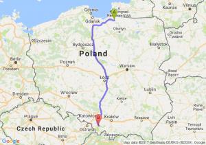 Pieniężno (warmińsko-mazurskie) - Bielsko-Biała (śląskie)