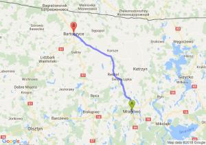 Trasa Mrągowo - Bartoszyce