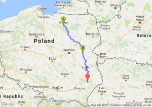 Olsztyn (warmińsko-mazurskie) - Siedlce (mazowieckie) - Biłgoraj (lubelskie)