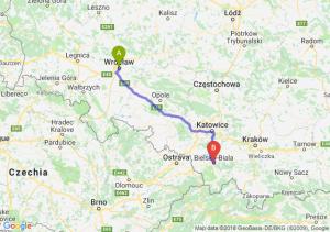 Trasa Wrocław - Bielsko-Biała