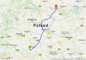 Trasa Ostrów Wielkopolski - Ostróda