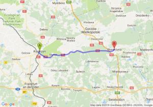 Trasa Kostrzyn nad Odrą - Skwierzyna
