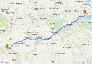 Toruń (kujawsko-pomorskie) - Mikołajki (warmińsko-mazurskie)
