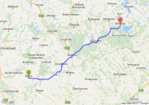 Rypin (kujawsko-pomorskie) - Mikołajki (warmińsko-mazurskie)
