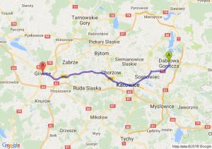 Trasa Dąbrowa Górnicza - Gliwice