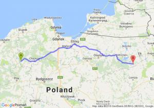 Czarne (pomorskie) - Biała Piska (warmińsko-mazurskie)
