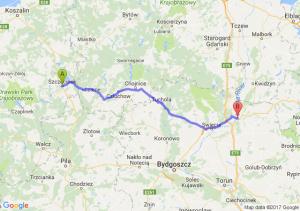 Szczecinek (zachodniopomorskie) - Grudziądz (kujawsko-pomorskie)