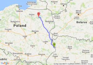 Hrubieszów (lubelskie) - Ruciane-Nida (warmińsko-mazurskie)