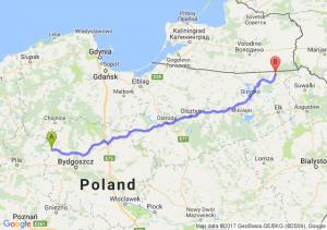 Więcbork (kujawsko-pomorskie) - Gołdap (warmińsko-mazurskie)