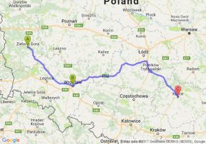 Zielona Góra (lubuskie) - WrocŁaw - Kielce (świętokrzyskie)