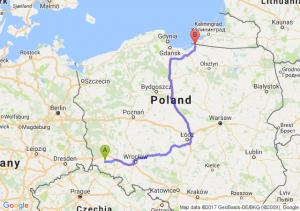 Lwówek Śląski (dolnośląskie) - Braniewo (warmińsko-mazurskie)