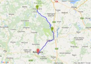 Kościerzyna (pomorskie) - Warlubie (kujawsko-pomorskie) - Bydgoszcz (kujawsko-pomorskie)