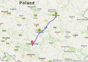 Warszawa (mazowieckie) - Piotrków Trybunalski (łódzkie) - Częstochowa (śląskie)