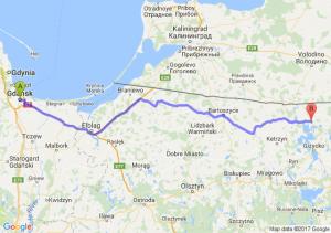 Gdańsk (pomorskie) - Węgorzewo (warmińsko-mazurskie)