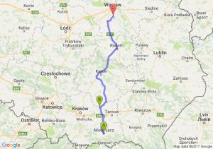 Nowy Sącz (małopolskie) - Koszyce (małopolskie) - Piaseczno (mazowieckie)