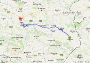 Trasa Zamość - Pabianice