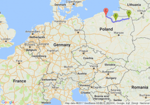 Suwałki (podlaskie) - Olsztyn (warmińsko-mazurskie) - Gdańsk (pomorskie)