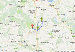 Kwidzyn (pomorskie) - Grudziądz (kujawsko-pomorskie) - Jeżewo (kujawsko-pomorskie)