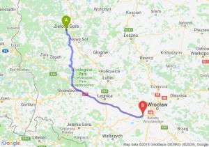 Trasa Zielona Góra - Kąty Wrocławskie