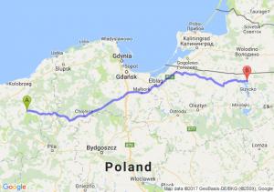 Połczyn-Zdrój (zachodniopomorskie) - Węgorzewo (warmińsko-mazurskie)
